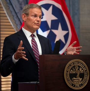 Governor Bill Lee answers questions from the media during a press conference at the State Capitol Thursday, July 22, 2021 in Nashville, Tenn.