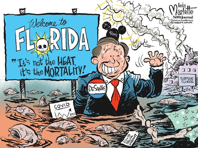 Marlette carton: Red tide, COVID spikes, condos collapsing... Welcome to Florida!