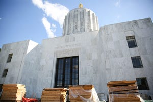 The front side of the Oregon State Capitol is under construction near Court Street Northeast on Wednesday, July 21, 2021 in Salem.