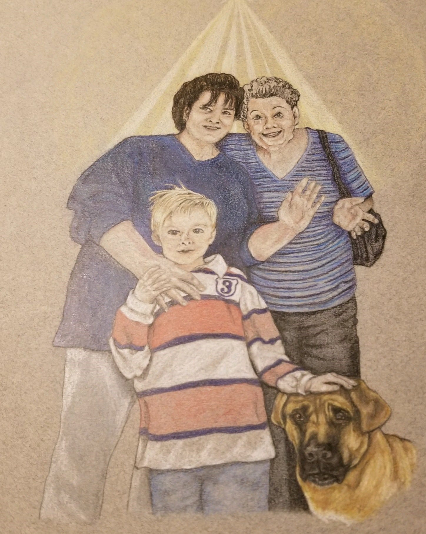 A colored pencil drawing of Wyatt Tofte, his grandmother, great grandmother and dog Duke.
