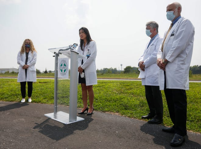 Dr. Minh-Thu Le talks during a press conference given by the Greene County Medical Society on Thursday, July 22, 2021.