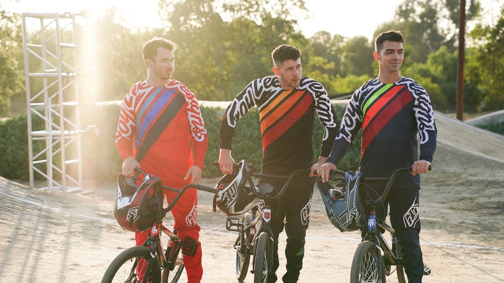 From left to right, Kevin Jonas, Nick Jonas and Joe Jonas are pictured during