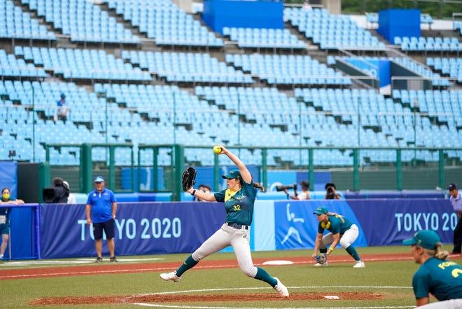 Australia and Italy play on the converted softball field at Fukishima Azoma Stadium on Thursday