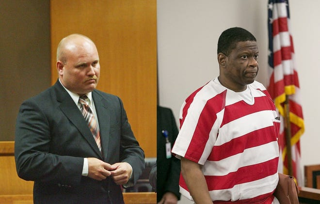 Jimmy Fennell, left, and Rodney Reed, right, pictured in separate court trials, are key figures in the Stacey Stites murder case.