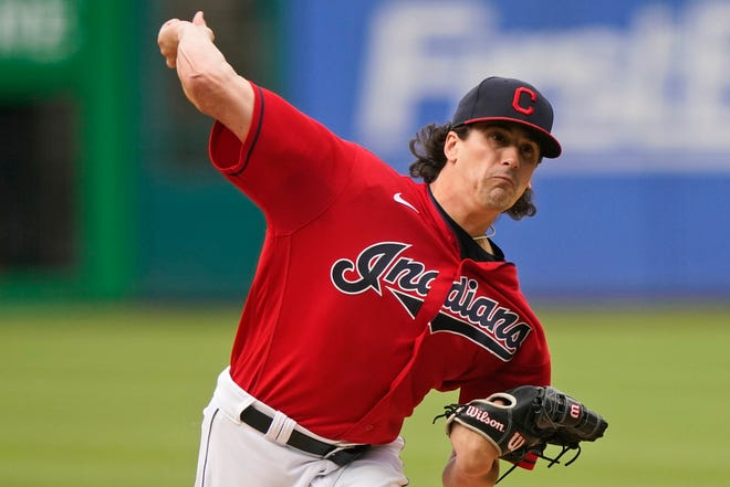 Cleveland starting pitcher Cal Quantrill delivers in the first inning of the team's baseball game against the Tampa Bay Rays, Thursday, July 22, 2021, in Cleveland. (AP Photo/Tony Dejak)
