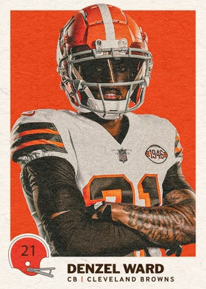 This Denzel Ward digital trading card is one of several the Browns created of players in their 75th anniversary uniforms, which are available to fans through the Browns Mobile App.
