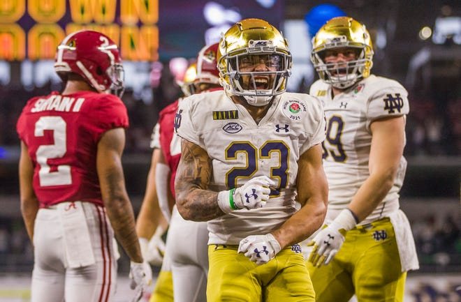Notre Dame running back Kyren Williams produced nearly 1,500 yards of total offense last season and should be the major focus of this year's offense. The Fighting Irish have made it to the College Football Playoff in two of the last three years.
