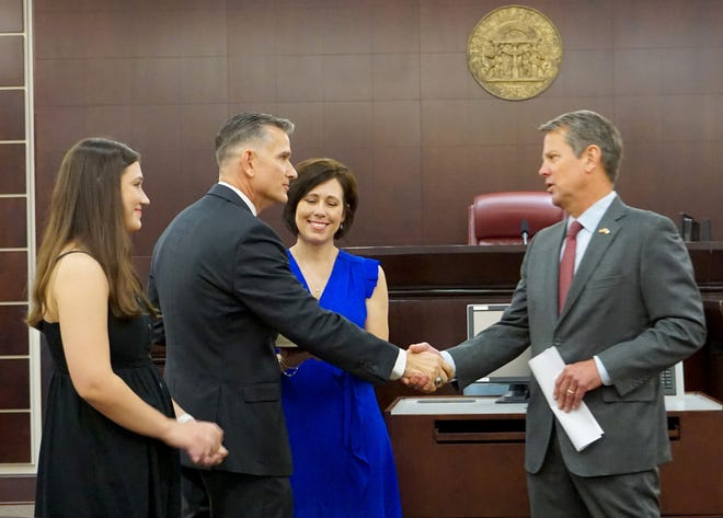 Bobby Christine, 51, is sworn in July 23 as district attorney of the new Columbia County Judicial Circuit. His office will prosecute felony and misdemeanor offenses.
