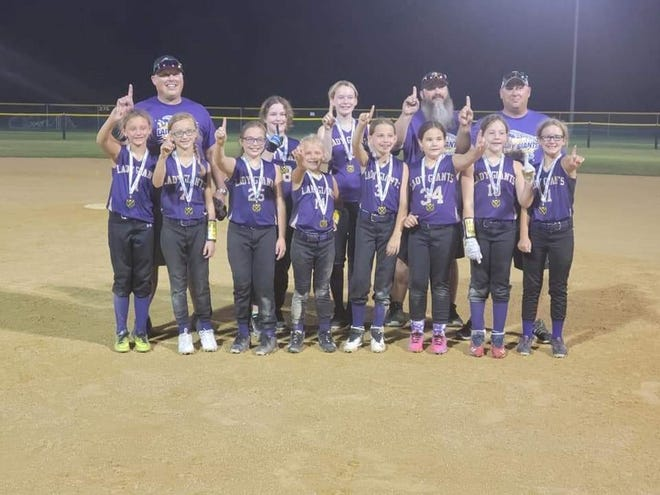 Pictured, in no particular order, are members of the Championship Team including: Leah Creasy, Marleigh Sigrist, Emmersyn Bowton, Rowan Lee, Zion Bloyd, Piper Teresi Kennedy Bowers, Megan Powell, Mylee Dawson and Harper Hulvey. Their coaches are Josh Bowers, Matt Powell and Jon Lee. Not pictured: Claire Jansen.