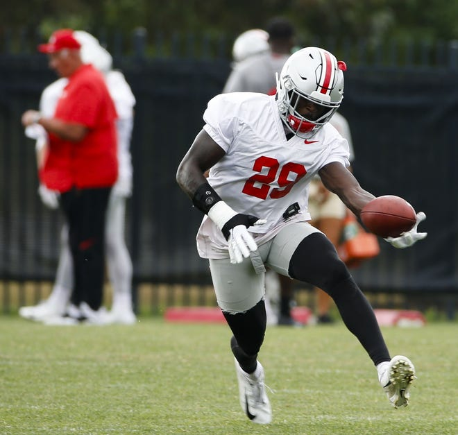 Ohio State Buckeyes safety Marcus Hooker (29) runs a drill during Ohio State Buckeyes football practice on Wednesday, August 14, 2019 at the Woody Hayes Athletic Center in Columbus, Ohio. [Joshua A. Bickel/Dispatch]