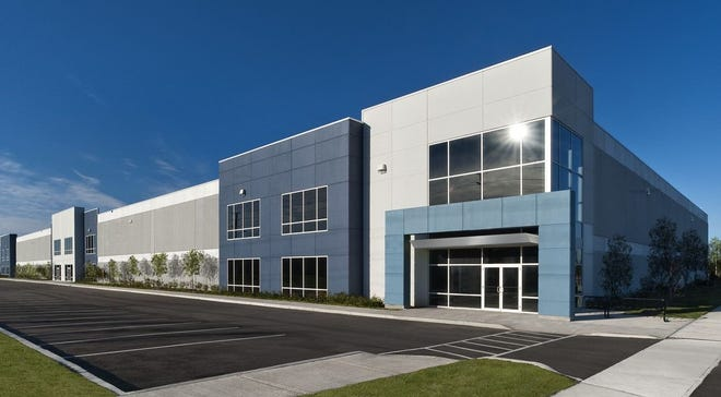 This rendering shows the appearance of a new warehouse on Taylor Road in Gahanna. New flex industrial space by LeVeck Commercial Construction & Development is being added at the location.