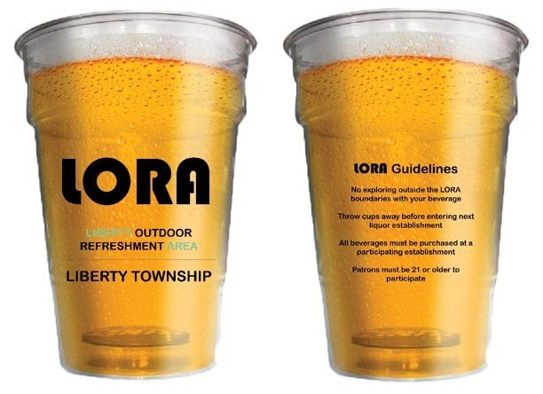 LORA cups, such as these concepts, would be required for the Liberty Outdoor Refreshment Area in Liberty Township. Trustees are considering a Designated Outdoor Refreshment Area, with the LORA title specific to the township.