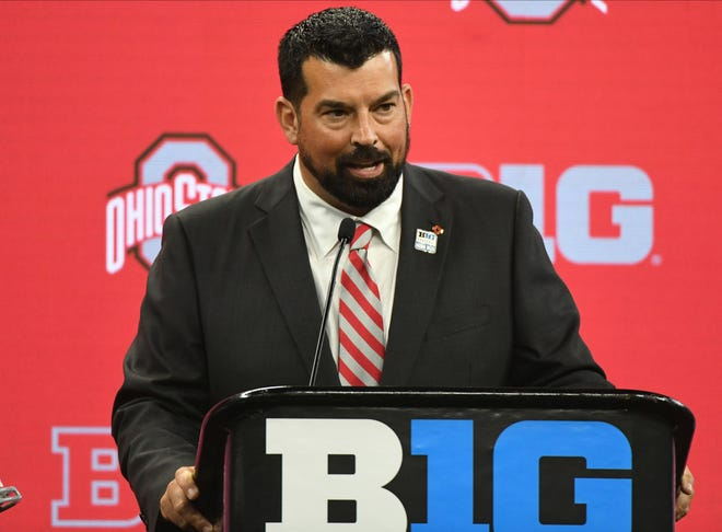 Ohio State coach Ryan Day talks to reporters at the Big Ten football media days on Friday.