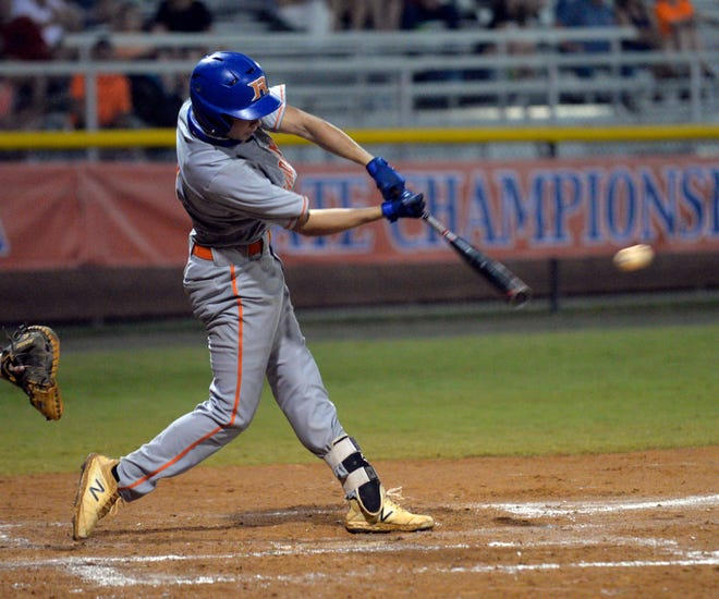 Randleman's Hunter Atkins gets a hit in the 2-A state championship series against Rutherfordton-Spindale Central. [Mike Duprez/Courier-Tribune]