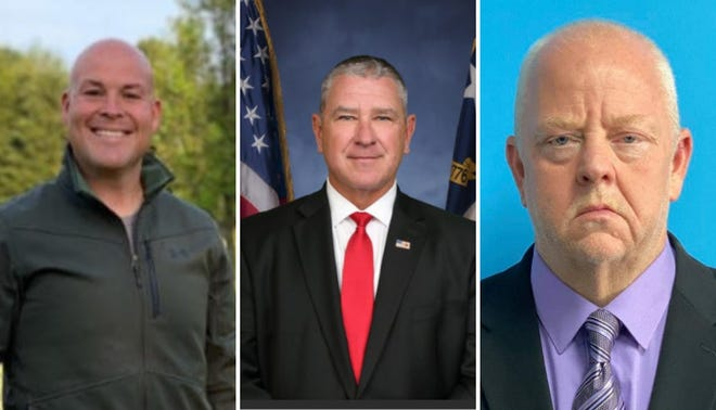 Sheriff Gregory Seabolt is suing two other candidates for sheriff in the 2022 election, Eric Hicks and Sean Walker. Pictured from left to right: Hicks, Seabolt and Walker