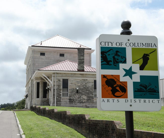 One of the Columbia Arts District's signage pinpoints one of its current boundaries at the Union Station Train Depot on Depot Street.