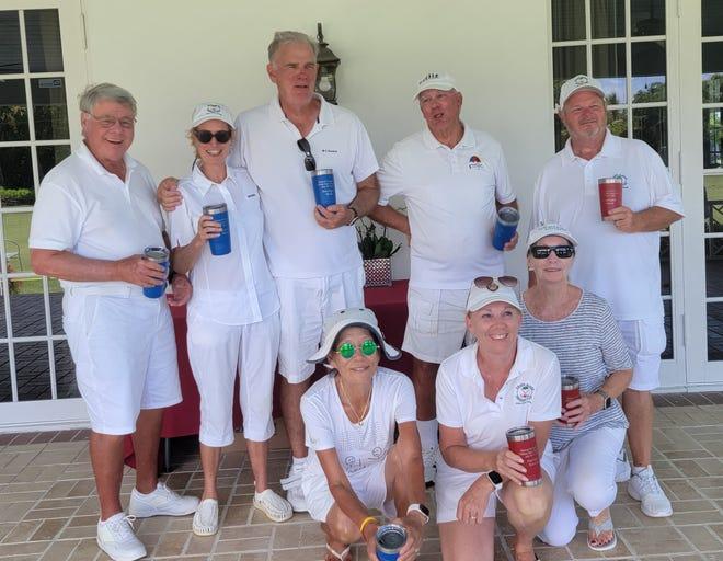 Pictured left to right, standing: Jim Hester, Marsha Cargill, Robert Brightman, Bill Todd, David Paukovich; kneeling: Mijai Pagano, Nancy Crouch, and Margaret Matuszak.