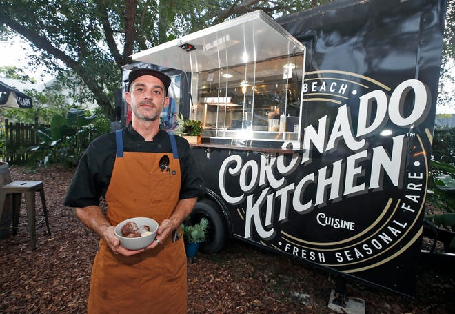 Chef Tyler Tragemann at his Coronado Kitchen in New Smyrna Beach on Thursday, July 22, 2021. Tragermann has teamed up with the Crimson House wine bar to offer patrons locally-sourced food options.
