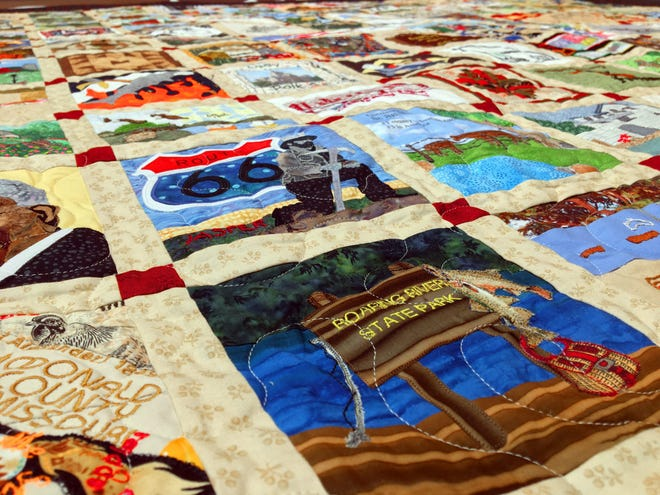 Missouri's bicentennial quilt, with one block for each county, has been on display around the state and will be at the Missouri State Fair in Sedalia in mod-August.