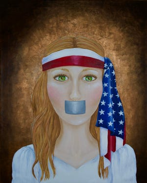 """""""Silenced"""" by Cindy Pritchard is part of the """"Un-American"""" exhibit now on view at The Art Center in Dover."""