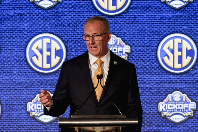 Southeastern Conference commissioner Greg Sankey, speaking to reports during the league Media Days on Monday, will see his power and influence on college football grow if Texas and Oklahoma join the SEC.