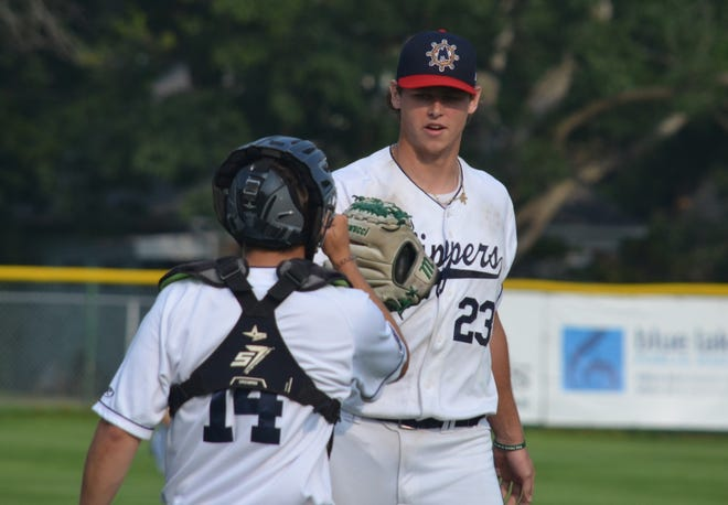 Adam Berghorst reacts after pitching for the Muskegon Clippers on Thursday, July 22, at Marsh Field in Muskegon.