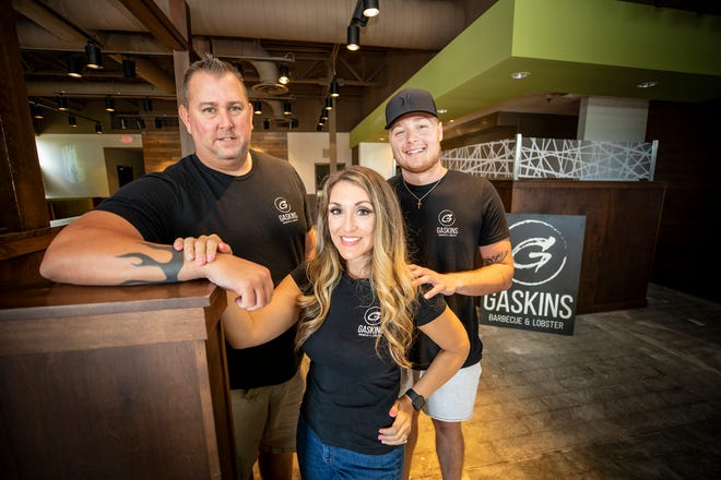 John Gaskin , Jeané Gaskins and Tristen Gaskins in their new location at Lakeside Village in Lakeland. The popular Polk County restaurant Gaskins BBQ and Lobster is opening a new Lakeland location at the old Beef O' Brady's Express location.