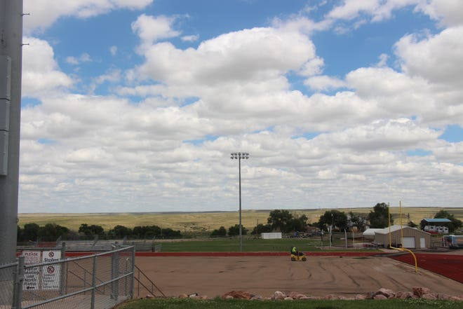 Workers prepare Tiger Stadium for a new artificial turf installment. Geology reports indicate that geological problems could delay the completion of the project as much as 30 days.