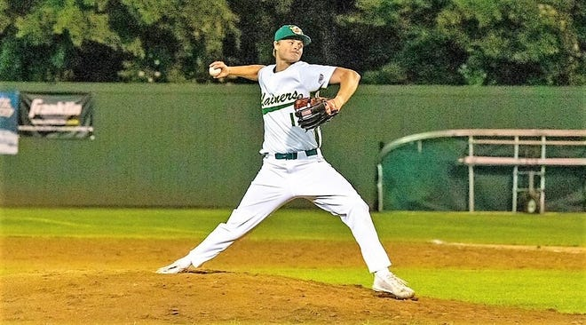 Trevor LaBonte, shown here pitching for the Sanford Mainers this summer in the New England Collegiate Baseball League, will play baseball next year at the University of Maine.