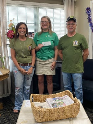 Felecia Dixson and Kenny Hale were presented a check Friday from Angie Dell Foster with State Farm for the Veterans Memorial Park, in Rolla.