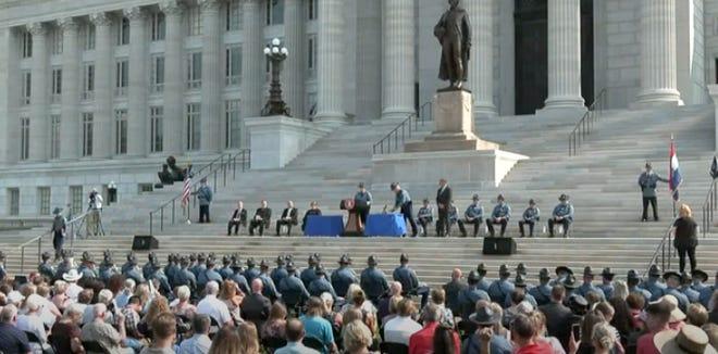 Screenshot of the Missouri State Highway Patrol Law Enforcement Academy 111th Recruit Graduation.