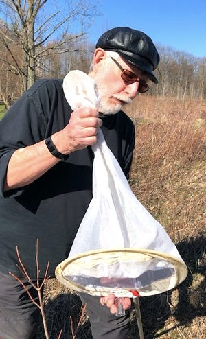 Professor Bob Heath demonstrates netting a bee during a small group hike.