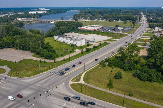 An aerial view of Lincolnway East and Capital Avenue on Friday in Mishawaka.