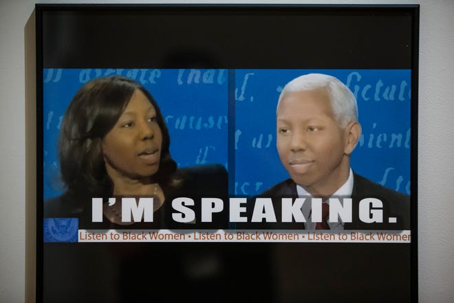 """Tyanna Buie's """"I'm Speaking"""" places her face over those of Kamala Harris and Mike Pence at a key moment during the 2020 vice presidential debate. Created with the deepfake app Reface, it's part of Buie's """"Re/Faced"""" exhibit through Sept. 26 at the South Bend Museum of Art."""