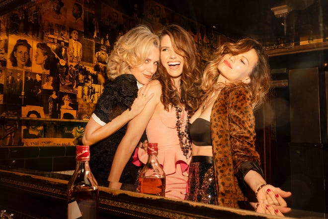 """Hilarie Burton Morgan, from left, Sophia Bush and Bethany Joy Lenz revisit their """"One Tree Hill' days on the new iHeartRadio podcast """"Drama Queens."""""""