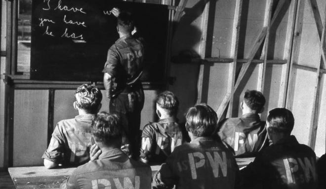 German POWs learning English similar to those being taught in Wilmington.