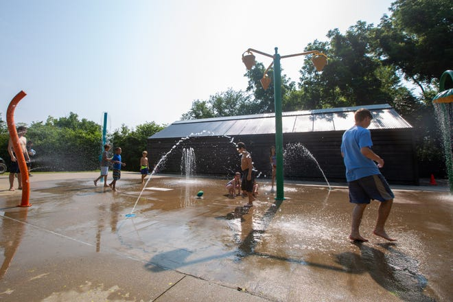 The splash park at Mission Creek Camp gives children a fun way to cool off on hot summer days.