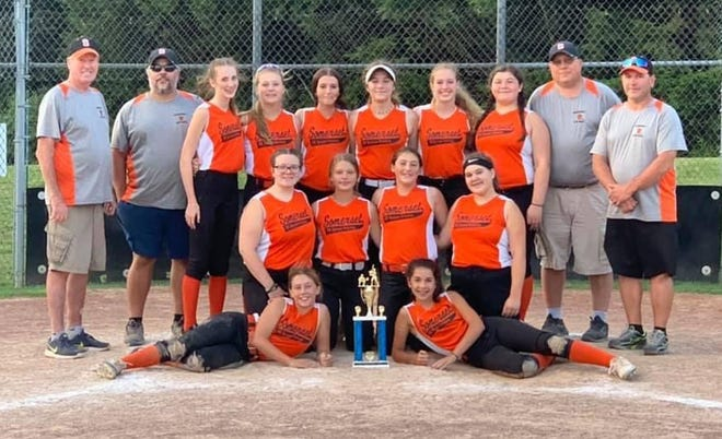 The FX Screen Printing team from Somerset captured the Cambria-Somerset Youth League 15U championship. The team went 12-0 during the regular season and swept the three-round playoffs scoring 167 runs and giving up only 15 on the season to capture the title. Pictured are team members, front row, from left, Elly Fletcher, Savannah Landis, middle, Caiya Rogers, Kayley Brant, Bella Francona, Brooklynn Thomas, back, coach Hank Sembower, coach Ken Black, Emily Rush, Ava Baumgardner, Tessa King, McKenna Black, Emily Pratt, Eva Sanzi, head coach Kevin Landis and coach Jeff Thomas.