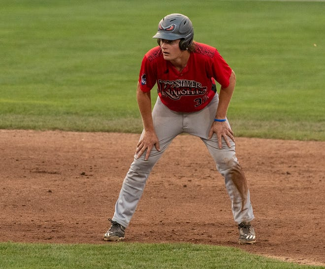 Former Wachusett Regional High School star Kevin Skagerlind takes his lead off second base while playing for the Nashua Silver Knights against the Worcester Bravehearts last Tuesday.