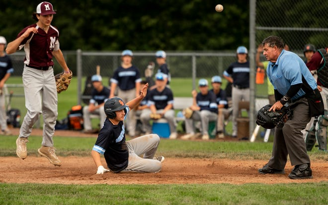 Shrewsbury's Dante Colonero, shown sliding safely home during a game last month, had three hits in Friday night's PNJ Senior Ruth semifinal over Tatnuck.