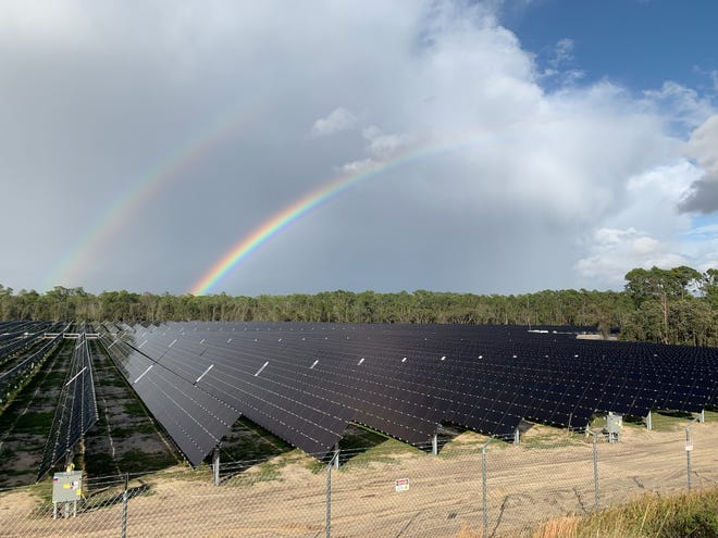 An Origis Energy solar project in Orange County that is similar in size to one the company wants to install in Alachua County. Archer residents have protested the suggested site near their homes. [Photo courtesy of Origis Energy]