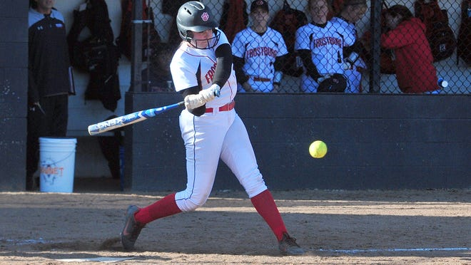 Taylor McCarty swings for a hit during a game at Frostburg.