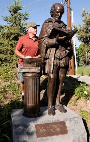 John checks the spelling on William Shakespeare's work in Cedar City, Utah.