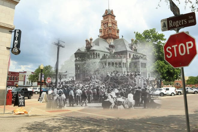 Then and Now: The Ringling Brothers visit downtown Waxahachie in 1901.
