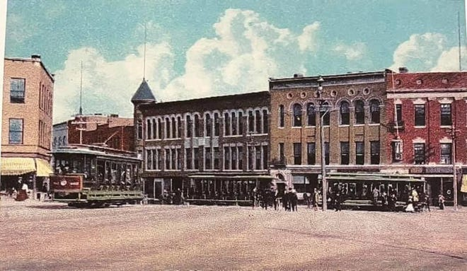 This picture of  Wood Square, circa 1902, shows what the Hudson town center looked like when the Hudson Daily Sun was established. Today, July 29, 2021, marks the last issue of the Hudson Sun, for 119 years the daily, then weekly, chronicler of Hudson happenings.