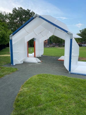 Thecity of Cambridge installed a temporary pavilion to provide shade and cooling for residents this summer in Greene-Rose Heritage Park.