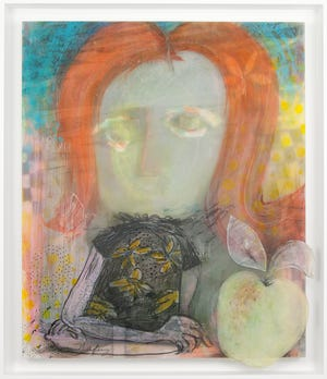"""Lynn Nafey, """"Teacher's Pet,"""" Multi-layered mixed media work constructed with dura-lar, plexiglass, and paper on wood panel. Media used include ink, acrylic paint, colored pencil, pigment transfers, and graphite."""
