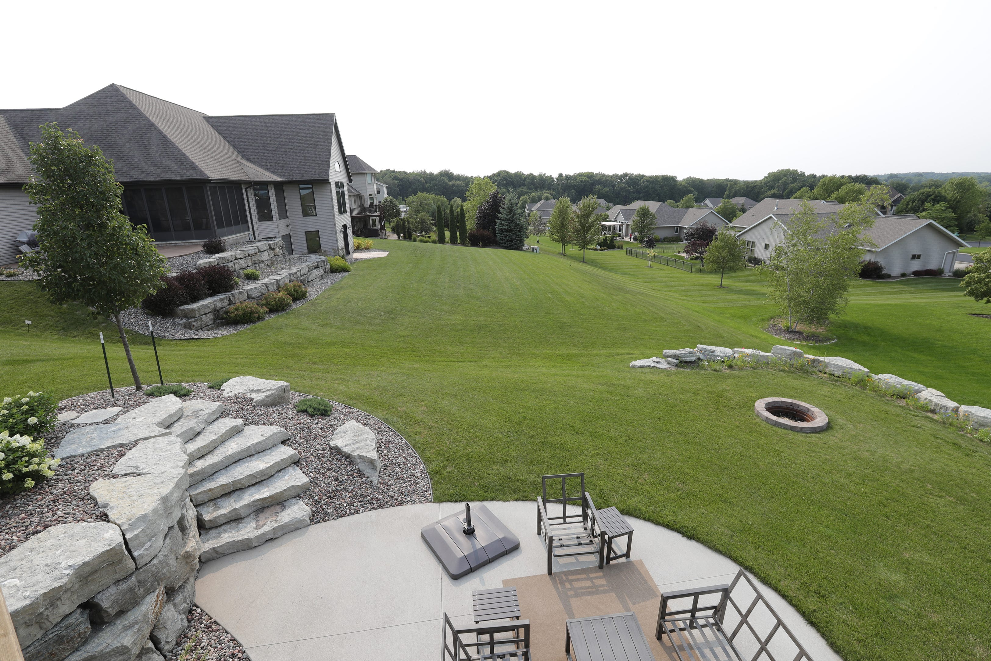 Large homes are seen in the area of Rockdale Lane Monday, July 19, 2021, in Greenville, Wis.