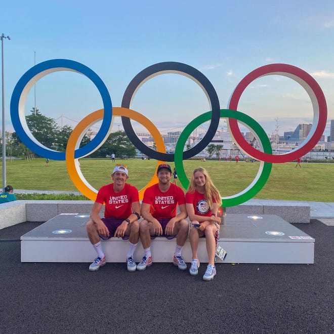 """From left, Team USA slalom athletes Michal Smolen, Zachary """"Bug"""" Lokken and Evy Leibfarth, of Bryson City, at the Olympic Athletes Village in Tokyo before the start of the Games."""