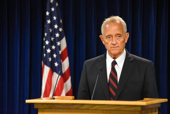 Hamilton County Prosecutor Joe Deters discusses the charges against Antonio Wilcox who shot and killed his pregnant girlfriend, Michelle McDonald on July 16, 2021.